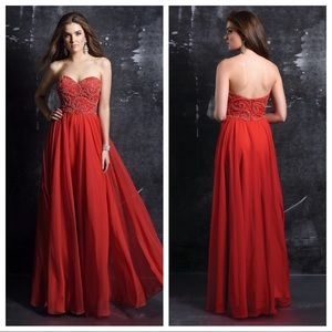 Strapless sweetheart empire waist beaded gown